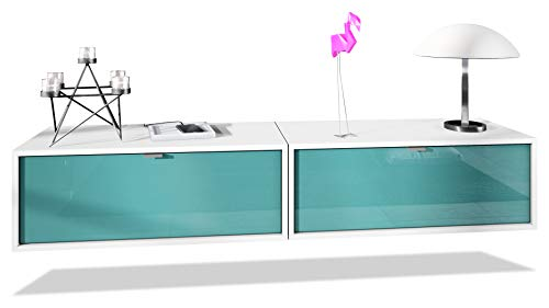 Set de 2 Muebles televisor Colgantes Lana 80, Cada Parte del Set Mide 80 x 29 x 37 cm, Cuerpo en Blanco Mate, frentes en Petróleo de Alto Brillo