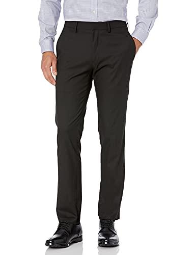 Kenneth Cole REACTION Men's Shadow Check Stretch Slim Fit Dress Pant, Black, 30Wx30L