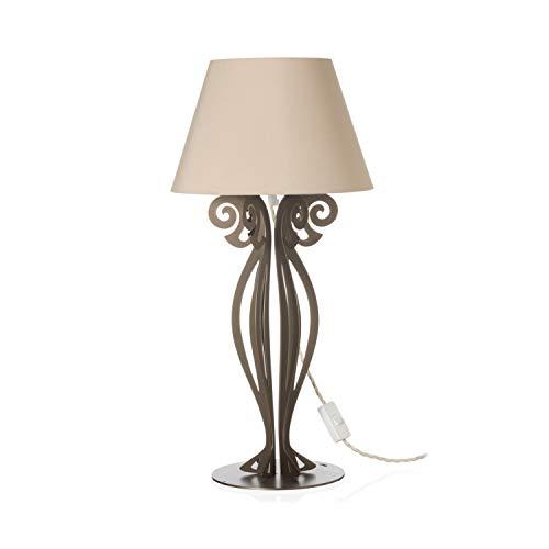 Arti & Mestieri Circeo - Lampada da Tavolo Piccola di Design 100% Made in Italy - in Ferro, 30 x 60 cm - Bronzo e Sabbia