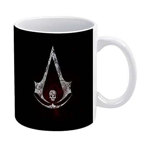 Assassins Creed Tazas de café de 325 ml con mango grande, tazas de café de cerámica, tazas de café blancas, taza de café para lavavajillas, apto para microondas, sin astillas y sin plomo