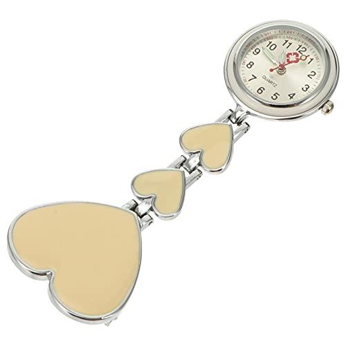 PartyKindom Retráctil Colgante Enfermera Reloj de Bolsillo Portátil Luminoso en Forma de Corazón Reloj de Bolsillo Clip- On Reloj para Estudiante Médico ( Beige )