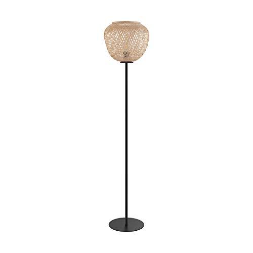 EGLO Stehlampe Dembleby, 1 flammige Stehleuchte Vintage, Boho, Standleuchte aus Stahl und Holz, Wohnzimmerlampe in Schwarz, Natur, Lampe mit Tritt-Schalter, E27 Fassung