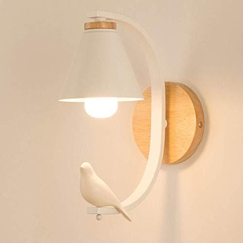 Nordic LED bedlampje warm licht houtkunst woonkamer slaapkamerlamp E27 gang trap werkkamer wandlamp (kleur: wit - kleine vogel)