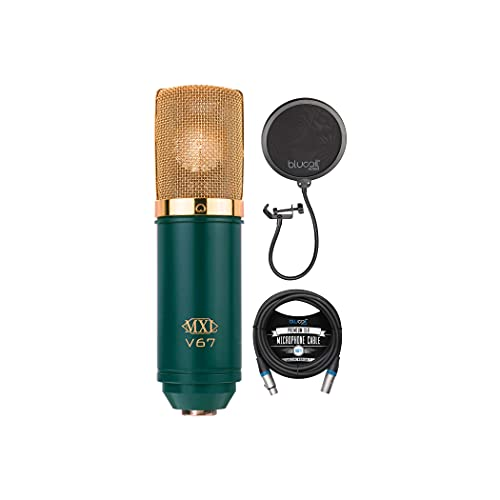 MXL V67G Large Capsule Condenser Microphone for Vocals, Guitars, Acoustic Instruments, and Drum Overheads Bundle with Blucoil 10-FT Balanced XLR Cable, and Pop Filter Windscreen