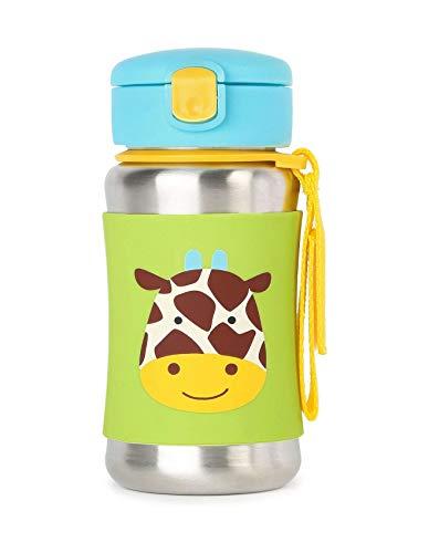 Skip Hop Zoo Insulated Stainless Steel Little Kid Straw Bottle, Giraffe, 350 ml Capacity