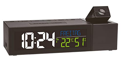 TFA Dostmann Show Funk-Projektionsuhr mit Raumklima, 60.5014.01, mit Ladefunktion, Raumklima, schwarz,