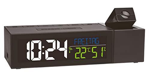 TFA Dostmann Show Funk-Projektionsuhr mit Raumklima, Kunststoff, schwarz, L170 x B110 x H110 mm