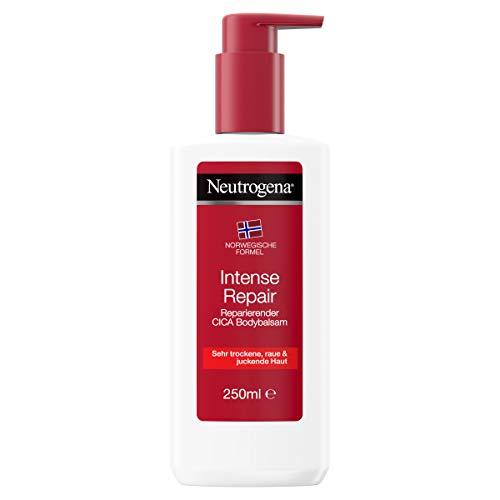Neutrogena Intense Repair reparierender CICA Bodybalsam mit der norwegischen Formel, feuchtigkeitsspendende Bodylotion für sehr trockene, raue & juckende Haut (1 x 250 ml)