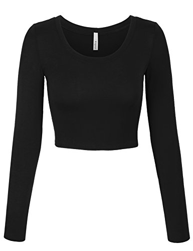KOGMO Womens Long Sleeve Basic Crop Top Round Neck with Stretch -S-Black