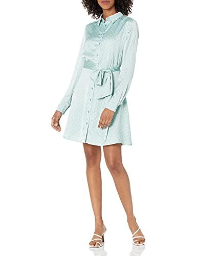 GUESS Women's Long Sleeve Agata Shirt Dress, Small Dots Ice White Combo, Large