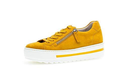 Gabor Damen Sneaker, Frauen Low-Top Sneaker,Comfort-Mehrweite,Reißverschluss,Optifit- Wechselfußbett, sportschuh Plateau-Sohle,Mango,36 EU / 3.5 UK