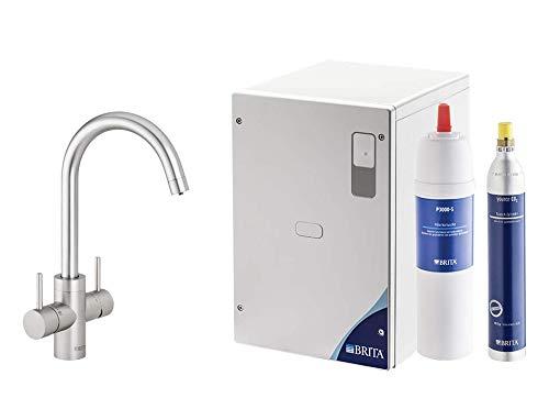 BRITA Wassersprudler yource pro Select Elektronisch mit CO2 Zylinder - Mit Filter und Kühlung - Armatur rund Edelstahloptik