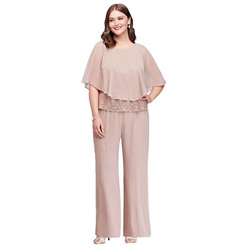 David's Bridal Three-Piece Chiffon Capelet Plus Size Pantsuit Style 610747DW, Cashmere, 18W