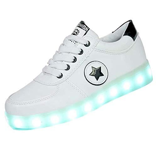 Scarpe Da Ginnastica Con Luci, Unisex LED Luminosi Leggero Traspirante Ginnastica Sneakers Lampeggiante USB Ricaricabile 7 Colori Colorati Scarpe Outdoor Verde, Nero (35-46)Black-37