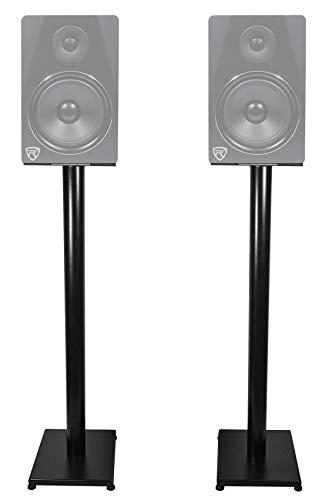 """Rockville Pair RS37B 37"""" Steel Bookshelf Speaker/Studio Monitor Stands in Black V2 Minnesota"""