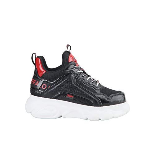 Buffalo Damen Sneaker CLD CHAI, Frauen Low Top Sneaker, schnürer schnürschuh sportschuh Wedge-Sneaker keil-Absatz,Schwarz(Croco Black),39 EU / 6 UK
