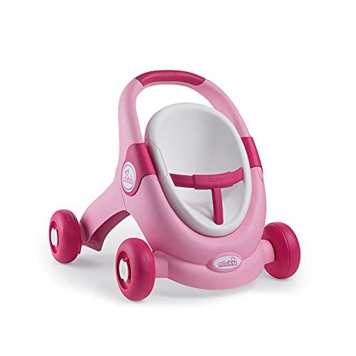 Smoby- Minikiss - Andador 3 en 1 para muñecas, para niños a Partir de 12 Meses, Color Rosa. (210205)