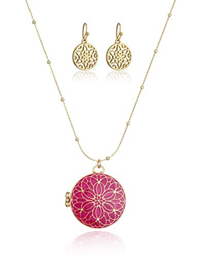 Charming Charlie Women's Locket Pendant Necklace w/Long Chain - Floral Design, Cubic Zirconia Stone - Pink