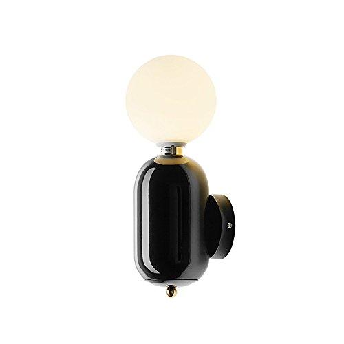 FEIFEIMOP - Aplique de tipo candelabro bola de cristal aplique Fashion Room Post-Moderno, simple iluminación, estudio de salón, fijación simple y sencilla con lámpara de 3 W G9 perlas) (color negro)
