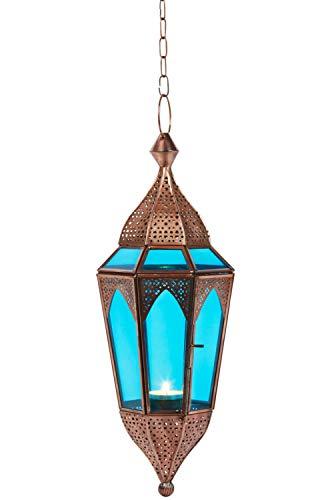 Oosterse lantaarn hangdraad glas Lalita blauw 41 cm groot | Oosterse glazen theelichthouder met handvat oosterse | Marokkaanse lantaarns hangend als hanglampjes