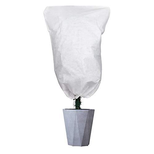 QIMEI-SHOP Funda para Plantas Cubierta Protección contra Heladas Tela no Tejida para Jardín Flores Arbustos Árboles con Cordón 120 x 80cm Blanco