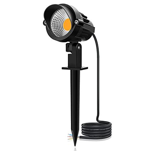 MEIKEE 7W LED Gartenleuchte mit Erdspieß 800LM Gartenstrahler IP66 Wasserdicht Vertikal Schwenkbar 85-265V/AC für Garten, Terrasse, Pflanzen, Wegen 3000K Warmweiß 1-er Pack