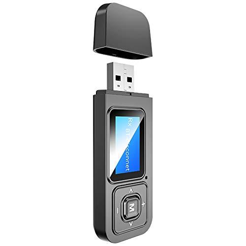 DGDFA Adaptador Bluetooth 5.0 de 3 en 1 con pantalla LCD Receptor Bluetooth Transmisor Todo en uno Instalación sin conductor