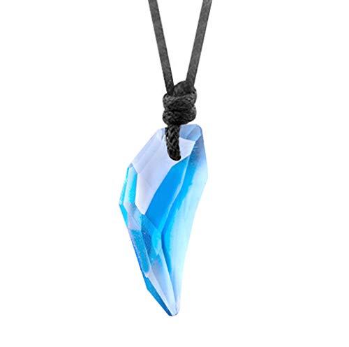 AllRing 1Pcs Collana unisex con ciondolo a forma di testa di lupo in cristallo, ciondolo a forma di dente di lupo con strass, collana regalo per uomini e donne e Filo di cristallo e cera