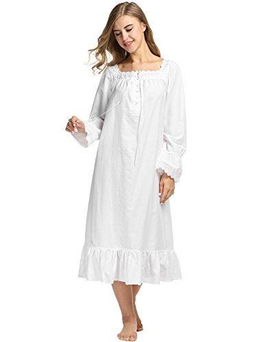 Avidlove Damen Kleid Nachthemd Schlafanzüge Nachtwäsche Negligees Langarm/Kurzarm Kurz Absatz/Lang Absatz Dessous Baumwolle Reine Farbe, B Langarm,weiß Lang, XL