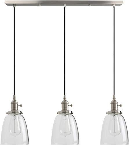 Lámparas de araña Techo Industrial Modern Vintage Loft Bar Cocina LB luces pendientes guarniciones Cluster Araña pantalla de cristal colgante de 3 luces Fixture de la isla Sala Comedor Dormitorio
