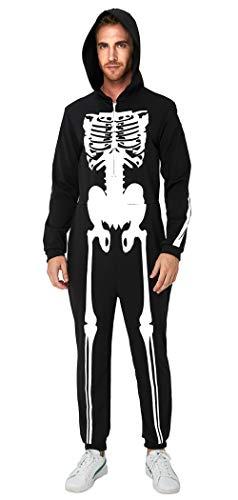 Men's Halloween Skeleton Costume Pajama with 3D Skull Printing Glow in The Dark Romper Family Hoodie Sleepwear Cosplay Bone Fleece Jumpsuit Catsuit Onesie Zip Up One Piece Pajamas Male