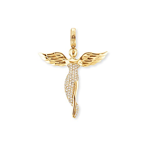 Engelsrufer Engel Anhänger für Damen Vergoldet 925er-Sterlingsilber Weiße Zirkonia Größe 26 mm
