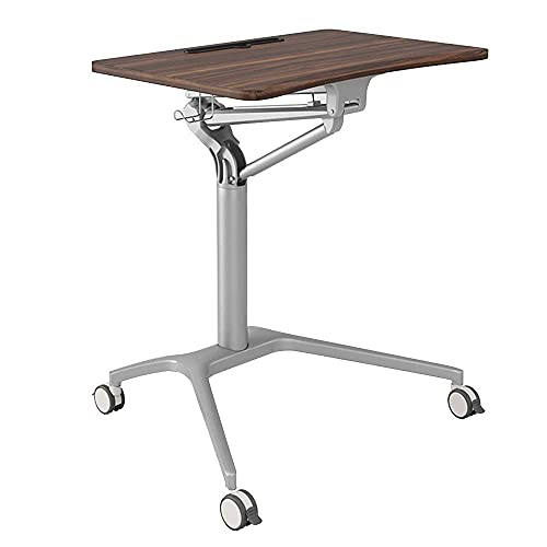 FACAZ Folding table Mobile Laptop, Sit-Stand Table Workstation with Casters, Height Adjustable for Sitting And Standing 21.5'x14.3'x29.5' -41.3'(LxWxG) -Workbench (Color : White)