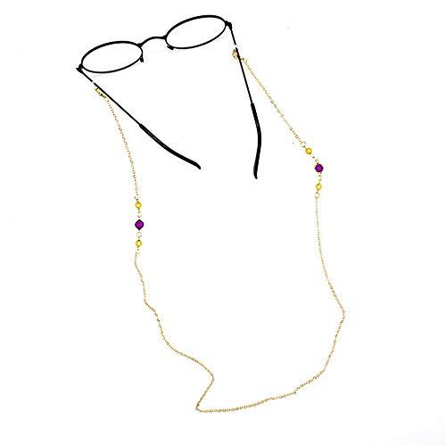 Yhjkvl-AC Cadena de gafas, cadena de cuentas redondas simples para colgar en el cuello, gafas de sol y accesorios (color dorado)