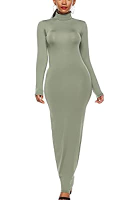 ioiom Women's Long Sleeve Plain Maxi Dresses Casual Long Dresses