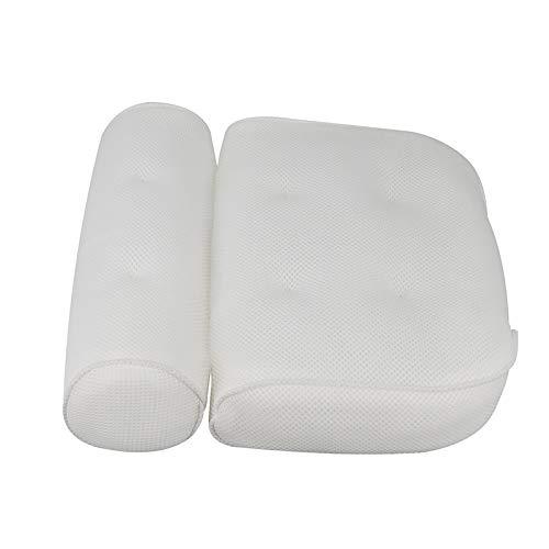 HITECHLIFE Badekissen mit 6 rutschfesten Saugnäpfen und Antibakteriellem Netz Ergonomisch Geformtes Nackenkissen für Badewanne und SPA zu Hause