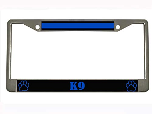 Thin Blue Line K-9 Unit Paw Prints - Police Steel Auto License Plate Frame Car Tag Holder