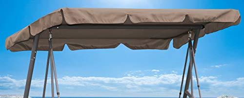 QUICK STAR Ersatzdach 200x145cm Gartenschaukel Universal Hollywoodschaukel 3 Sitzer Taupe UV 50 Ersatz Bezug Sonnendach Schaukel Dach