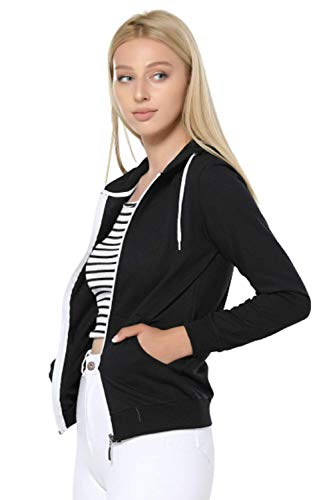 LuxuryWest | Damen Sweatjacke mit Kapuze und Reißverschluss | Sweatshirts | Kapuzenjacke | Kapuzenpulli | Langarm | Polar | Hoodie | Farbvarianten | Sport Style Casual Fitness | (M, Schwarz)