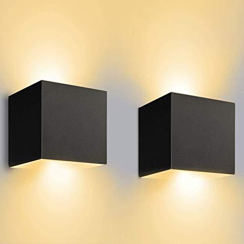 12W LED Wandleuchten Innen/Außen 2 Stücke Außenwandleuchte 3000K Warmweiß LED Wandlampe Schwarz mit Einstellbar Abstrahlwinkel aussenbeleuchtung IP65 Wasserdichte