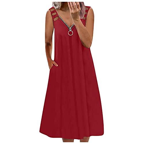 Vestido de verano para mujer, para el día a día, informal, cuello en V, vestido de playa, vestido de línea A, con cremallera, hasta la rodilla., #01_rojo, M