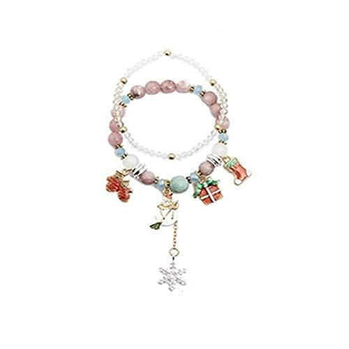 Rincr 2 Piezas árbol de Navidad muñeco de Nieve Doble Capa de Cuentas Pulsera Santa Bell Red Suede Chain Bracelet Charm Bracelet (H04)