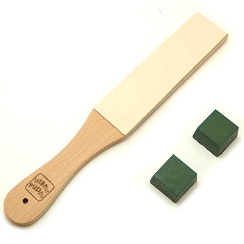 切れ味 持続 錆防止 包丁 ナイフ 革 砥ぎ セット 青棒 2個 研磨用木台 説明書 付き (レギュラー)