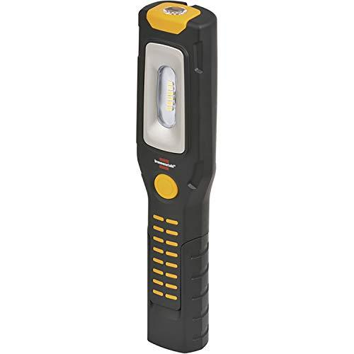 Brennenstuhl LED Arbeitsleuchte mit Akku / Akku Werkstattlampe mit Magnet (300+100 lm, LED Taschenlampe mit bis zu 10 h Leuchtdauer, 360° drehbarer Haken, knickbarer Haltefuß)