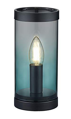Reality Leuchten Tischleuchte Cosy R50001019, Metall Schwarz matt, Glas türkis, exkl. 1x E14