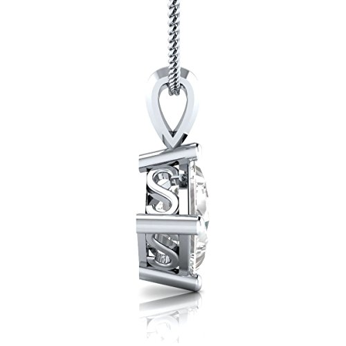 EternalDia 1.00 Ct Princess Cut 14k White Gold Finish Syerling Silver Solitaire Pendant Necklace with Chain