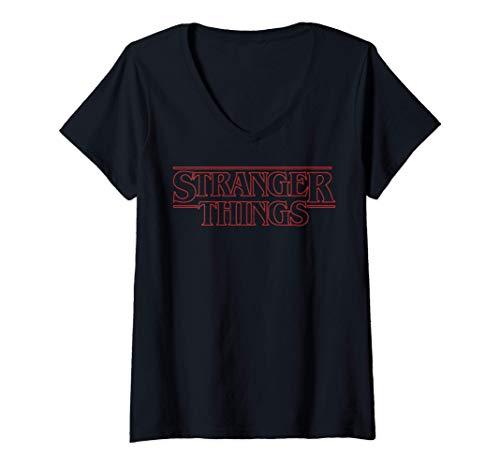 Femme Netflix Stranger Things Outline Logo T-Shirt avec Col en V