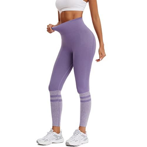 Joyshaper Leggings deportivos largos para mujer, de Tik Tok, con puntos, push-up, para yoga, correr, entrenar, fitness por encima de la rodilla., morado, L