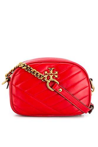Tory Burch Women's Kira Chevron Camera Cross Body Handbag Red Apple