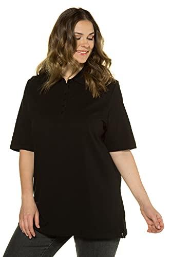 Ulla Popken Große Größen Damen Regular Fit Poloshirt PoloPiquee Shirt 63883610, Einfarbig,Schwarz (schwarz 10),50 DE / 52 EU